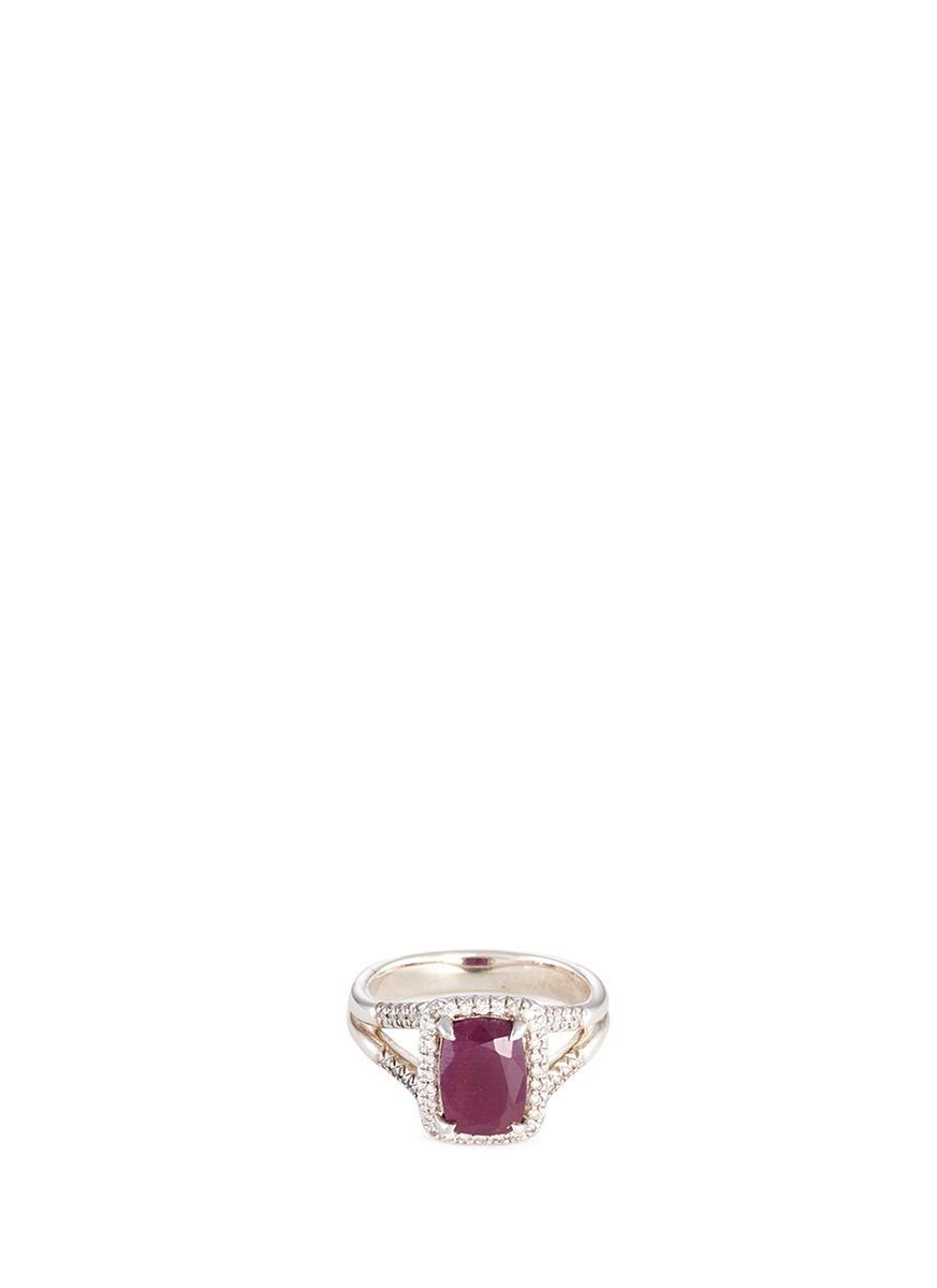 John Hardy 'Magic Cut' Diamond Ruby Silver Ring