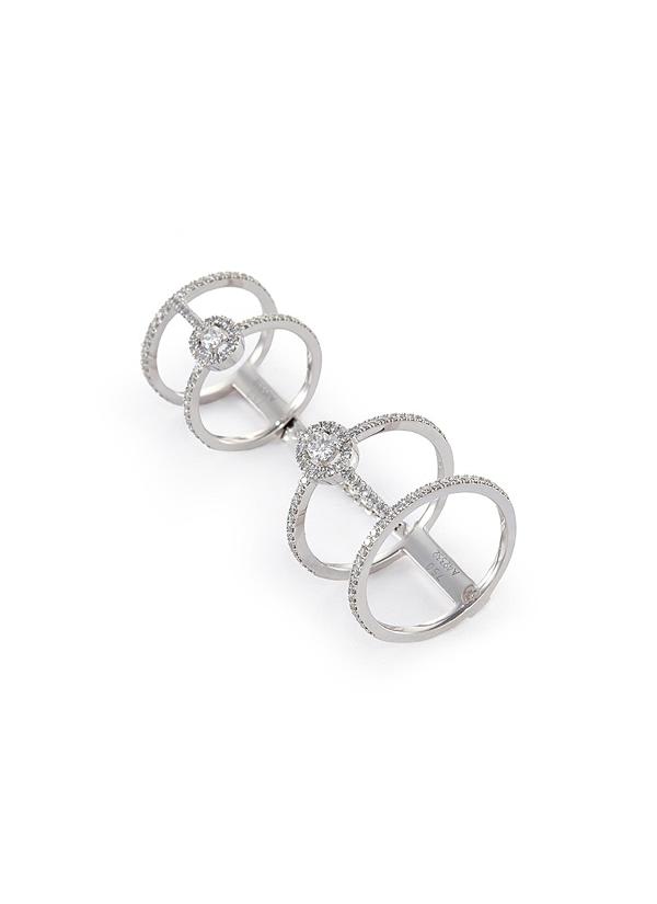 Messika 'Glam'Azone Double PavÉ' Diamond 18K White Gold Ring
