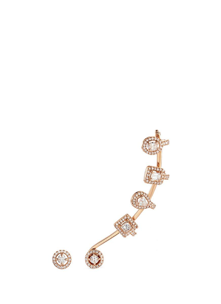 ae579cd4d Messika 'My Twin Multishape' Diamond 18K Rose Gold Mismatched Earrings
