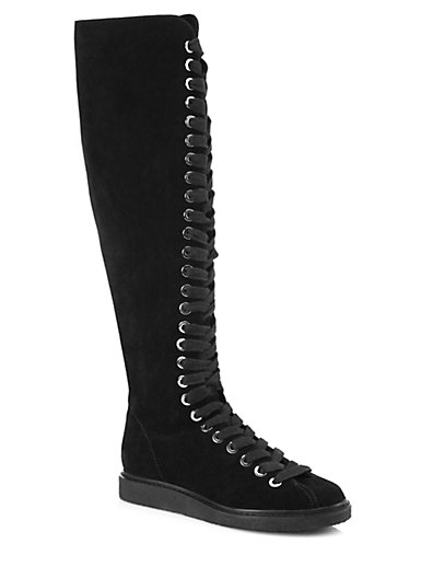Alexander Wang Emmanuel Suede Lace-Up Knee-High Boots In Black