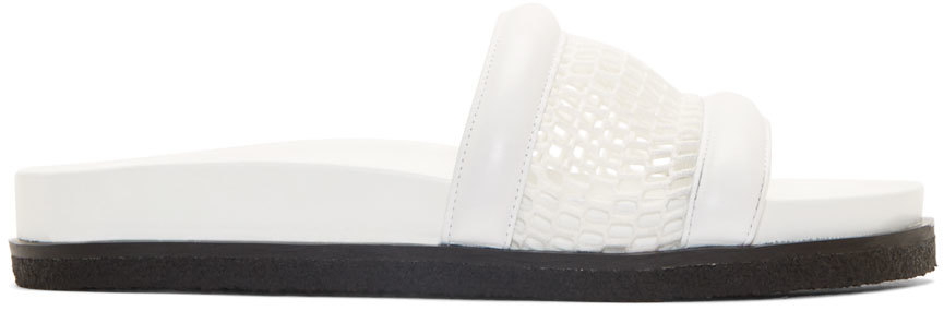 Alexander Wang Jac Airtex Suede And Mesh Slide Sandals In Chalk