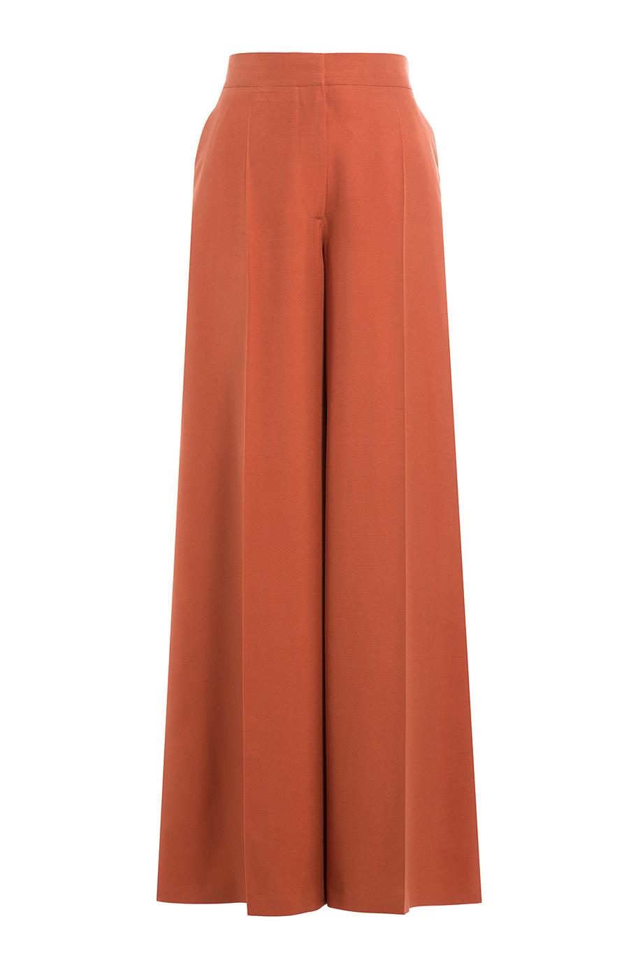 Valentino Silk Wide Leg Pants In Orange