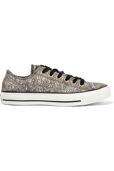 e06693a4ead166 Converse Chuck Taylor All Star Iridescent Cracked-Leather Sneakers In  Black  Egret Leather