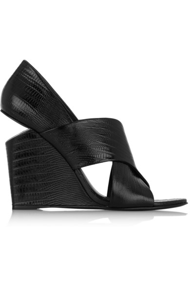 Alexander Wang Ida Lizard-Effect Patent-Leather Wedge Sandals In Black