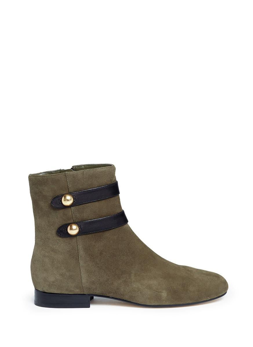 Michael Kors 'maisie Flat' Mock Button Tab Suede Ankle Boots