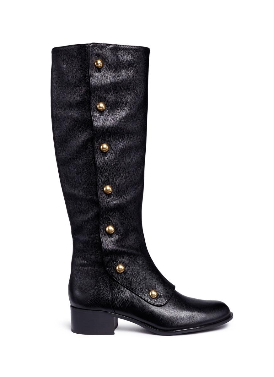 Michael Kors 'maisie' Mock Button Flap Leather Knee High Boots In Nero
