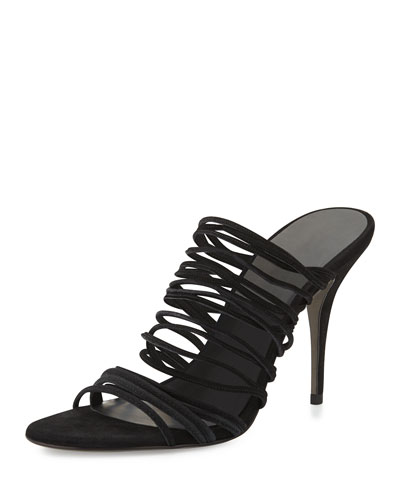 Alexander Wang Mathilde Stretch Suede Strappy Sandal In Black