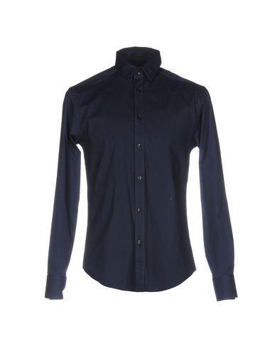 Versace Solid Color Shirt In Dark Blue