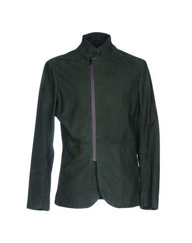 Armani Collezioni Leather Jacket In Dark Green