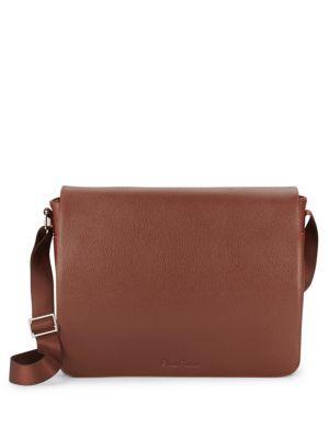 Robert Graham Haines Leather Messenger Bag In Cognac