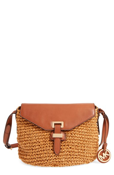 891326e4c0da Michael Michael Kors 'Medium Naomi' Straw & Leather Messenger Bag In Walnut/  Gold