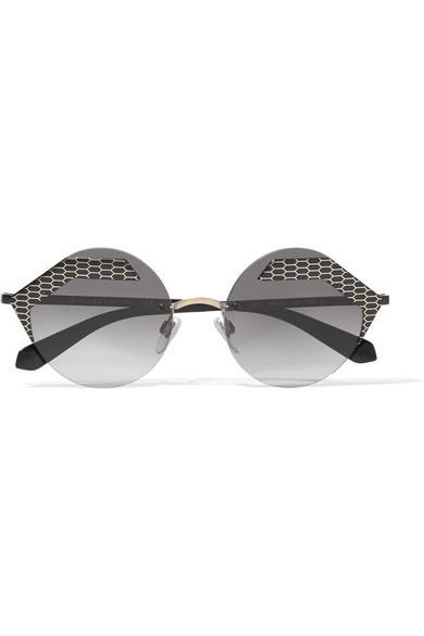 Bvlgari Serpenti Round-frame Printed Metal Sunglasses In Gray