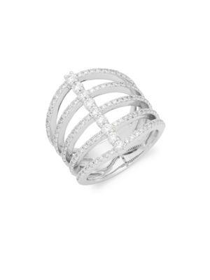 Kc Designs Diamond & 14k White Gold Five Band Modern Ring In Silver