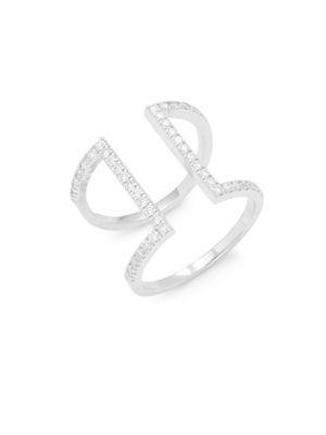 Kc Designs Diamonds & 14k White Gold Geometric Ring In Silver