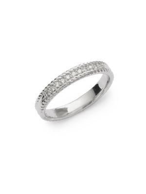 Kc Designs Stack 14k White Diamond And 14k Gold Ring In Silver