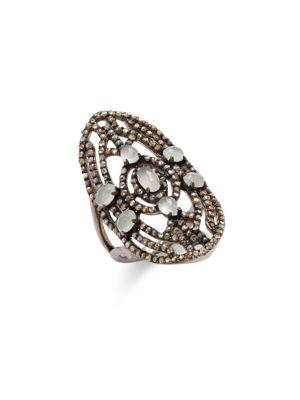 Bavna Champagne Diamond, Aquamarine & Sterling Silver Ring