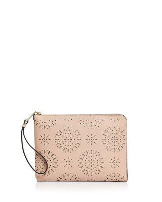 Ivanka Trump Rio Tech Perforated Leather Tablet Case In Nude/gold
