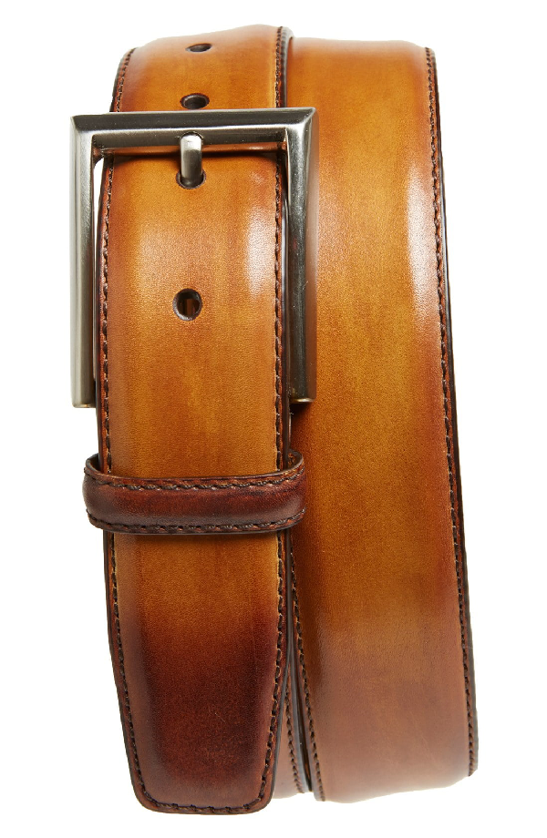 Magnanni Catalux Leather Belt In Cuero Brown