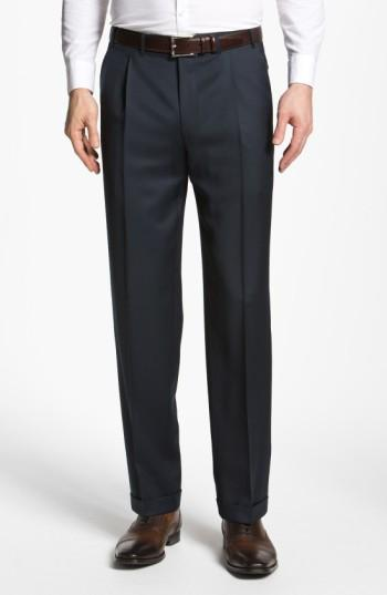 Canali Pleated Trousers In Navy