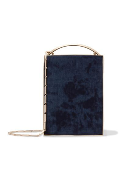 Eddie Borgo Mak MinaudiÈre Leather-trimmed Brushed-twill Clutch In Navy