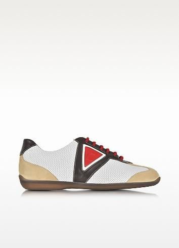 A.testoni Multicolor Leather And Suede Sneaker In White
