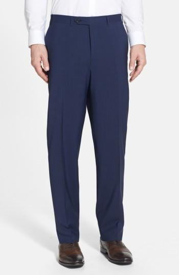 Canali Flat Front Classic Fit Wool Dress Pants In Navy