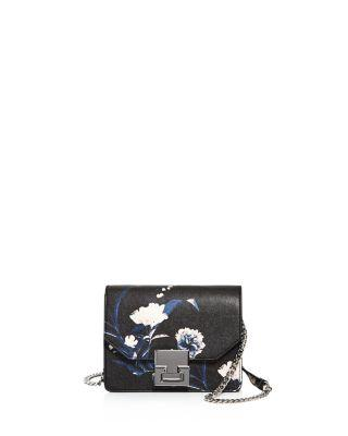 Ivanka Trump Hopewell Floral Mini Saffiano Leather Crossbody In Black Floral Multi/silver