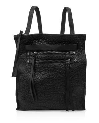 Kooba Fairfield Convertible Leather Backpack In Black/silver