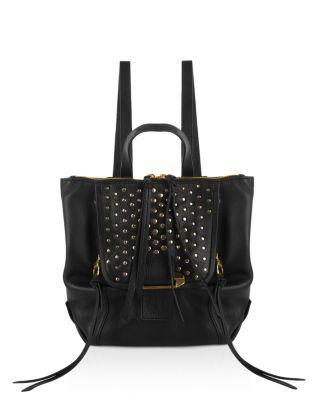 Kooba Bobbi Mini Leather Backpack In Black/silver