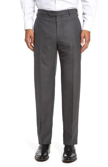 Zanella Devon Flat Front Solid Wool Trousers In Dark Grey
