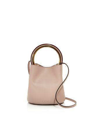 Marni Leather Bucket Bag In Quartz Pink/gold