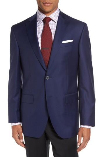 David Donahue 'connor' Classic Fit Solid Wool Sport Coat In Navy