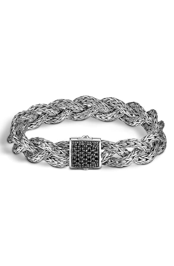 John Hardy Classic Chain Silver Small Braided Bracelet With Black Sapphire In Silver/ Black Sapphire