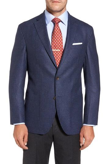 David Donahue Aiden Classic Fit Check Wool & Cashmere Sport Coat In Medium Blue
