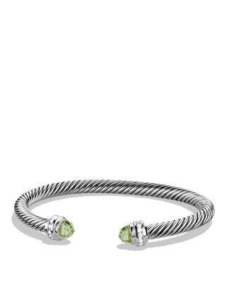 David Yurman Cable Classics Bracelet With Prasiolite & Diamonds In Silver