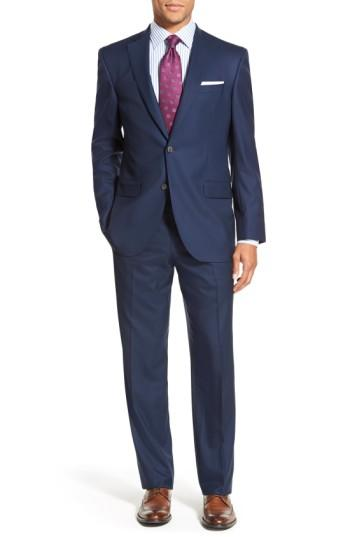 David Donahue Ryan Classic Fit Solid Wool Suit In Navy