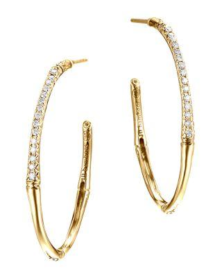 John Hardy Bamboo 18K Yellow Gold Diamond Pave Small Hoop Earrings In Gold/White