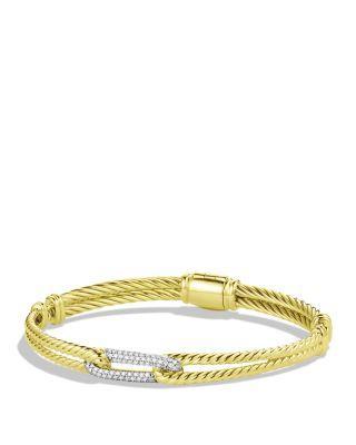 David Yurman Petite Pave Labyrinth Mini Single-Loop Bracelet With Diamonds In Gold In Yellow Gold/White Diamonds