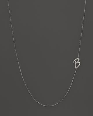 Kc Designs Diamond Side Initial B Necklace In 14k White Gold, .09 Ct. T.w.