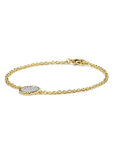 David Yurman Cable Collectibles Pave Charm Bracelet With Diamonds In Gold In Gold/white