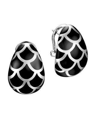 John Hardy Naga Sterling Silver And Black Enamel Buddha Belly Earrings In Silver Black