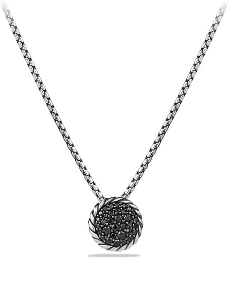 David Yurman Chatelaine Pave Pendant Necklace With Black Diamonds In Silver/black