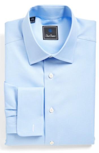 David Donahue Men's Regular-fit Micro-birdseye Dress Shirt With French Cuffs In Blue