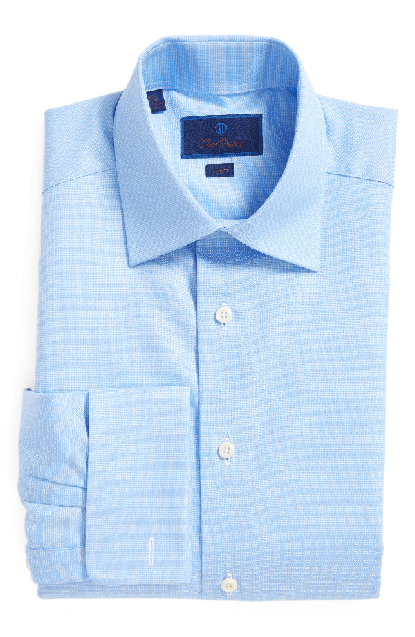 David Donahue Men's Trim-fit Micro-birdseye Dress Shirt With French Cuffs In Blue