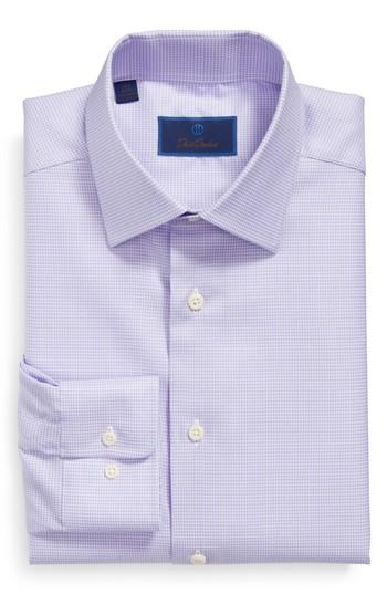 David Donahue Regular Fit Houndstooth Dress Shirt In Lilac