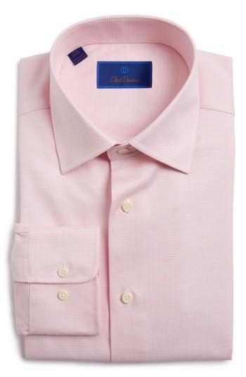 David Donahue Regular Fit Houndstooth Dress Shirt In Pink
