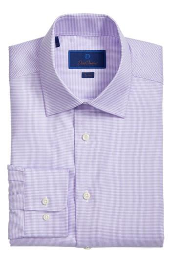 David Donahue Trim Fit Houndstooth Dress Shirt In Lilac