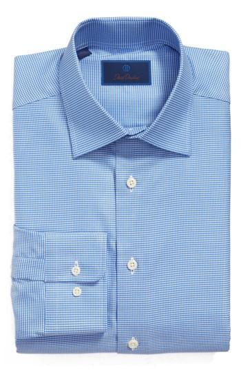 David Donahue Regular Fit Houndstooth Dress Shirt In Blue