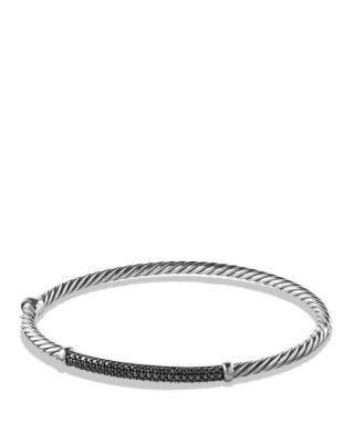 David Yurman Petite Pave Bracelet With Black Diamonds In Silver/black
