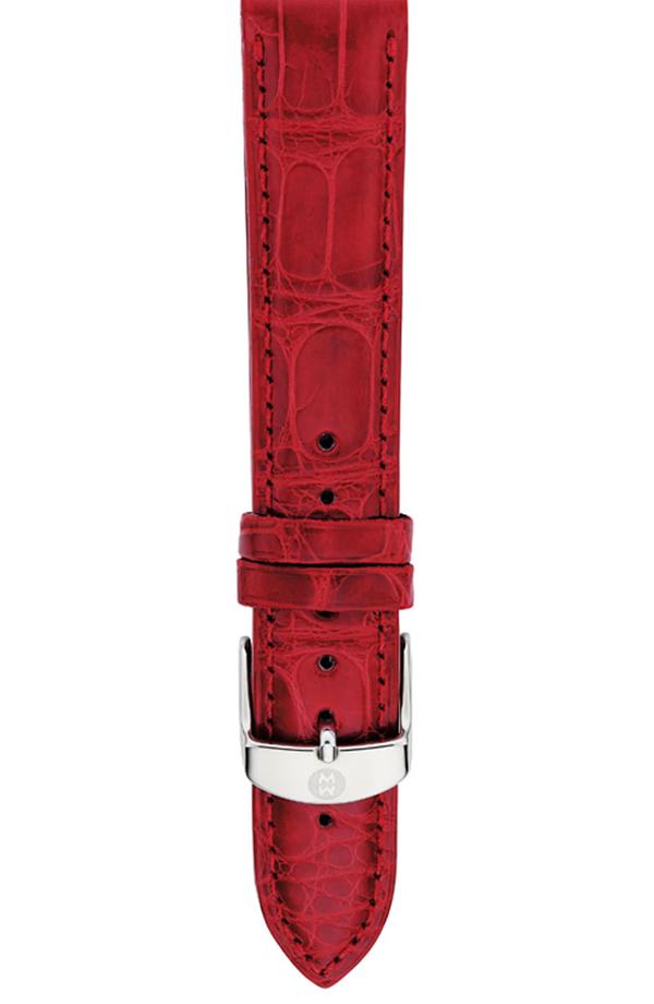 Michele Alligator Watch Strap, 16-20mm In Garnet